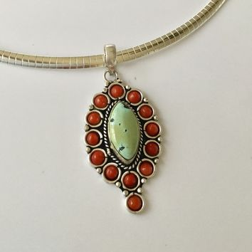 Green turquoise and coral silver pendant