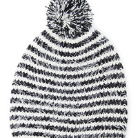 FOREVER 21 Eyelash Knit Pompom Beanie Cream/Black One