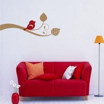 Wall Decals Bird Out On A Limb Vinyl Wall by singlestonestudios