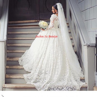 Luxury Lace Puffy Ball Gown Wedding Dress Long Sleeves Appliques Court Train Sheer Vintage