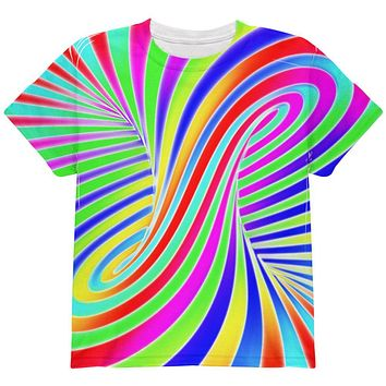 Rainbow Trippy Swirl All Over Youth T Shirt