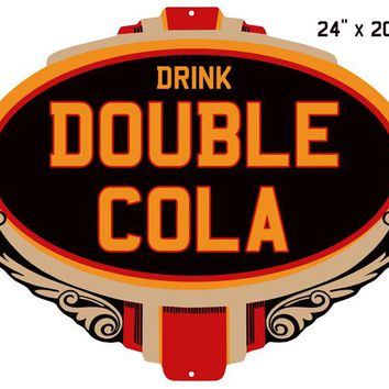 """Cola Double Drink Reproduction Laser Cut Out Nostalgic Sign 15""""x20"""""""