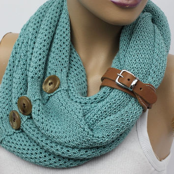 knit button infinity scarf Leather cuff circle scarf winter scarfs neck warmer cowl birthday gifts women's accessory fashion scarves