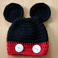 Mouse Hat, crochet photo prop, baby boy photo prop, red and black, white buttons, 12 Months to 4T