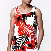 On The Byas July Flowers Tank Top - Mens Tee - Red