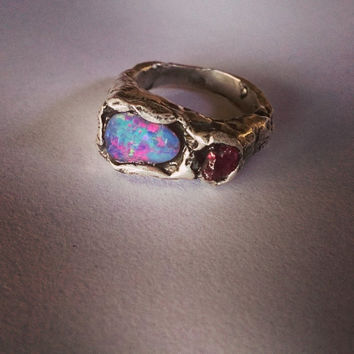 Handmade Australian Opal and Raw Ruby Signet Ring Solid by Juxshop