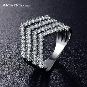 ANFASNI Women Big Rings Jewelry Engagement Style Ring CZ Stones Paved Wedding Rings For Ladies CRI0333
