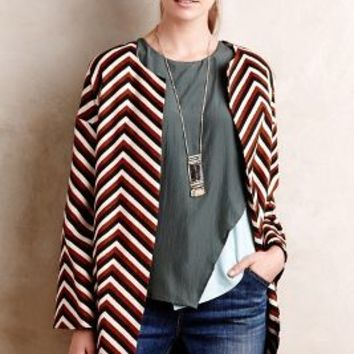 Eva Franco Chevron Car Coat in Brown Motif Size: