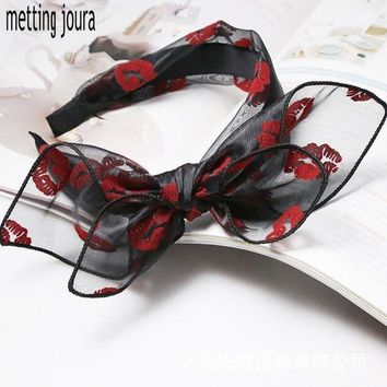 Metting Joura Bohemian Vintage Punk Red Lip Print Lace Big Double Bow Wide Headband Hairband Hair Accessories