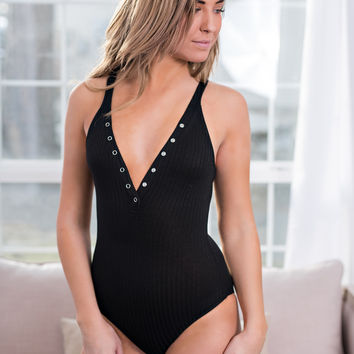Just Like Heaven Snap Button Up Sleeveless Ribbed Bodysuit (Black)