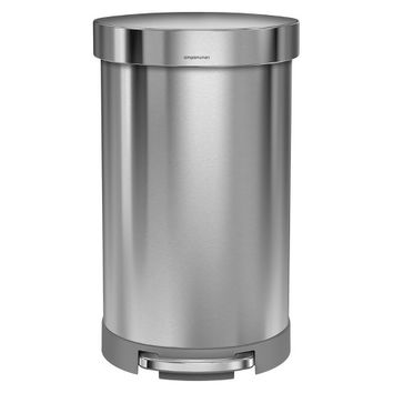 Simplehuman studio 45 liter Semi-Round Step Trash Can, Brushed Stainless Steel