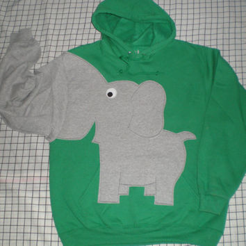 Elephant trunk sleeve HOODIE Emerald Green UNISEX Large