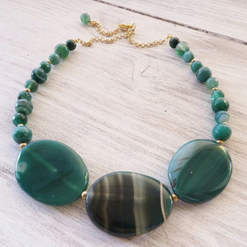 Green agate necklace, beaded necklace, bib necklace, uk gemstone jewellery, large bead necklace, italian jewelry, gift for her, gioielli