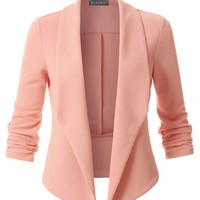 LE3NO Womens Textured Ruched 3/4 Sleeve Open Front Tuxedo Blazer Jacket