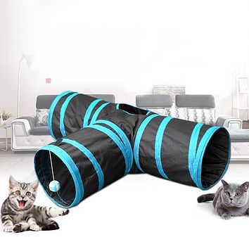 Pet Animals Soft Cats Tunnel Toys Tube Cloth Hideout Playing Folding Home Ball