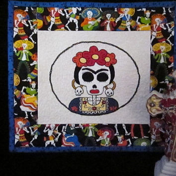 Frida Kahlo Hand Embroidered Quilt - Dia De Los Muertos - Day of the Dead