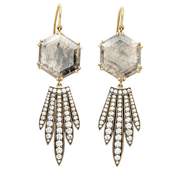 Hexagonal with Feather Bottom Diamond Earrings