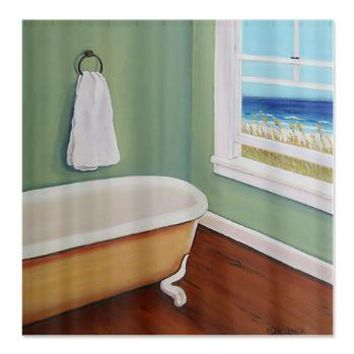 Window to the Sea Beach Shower Curtain> Coastal, Vintage and Urban Chic Shower Curtains> Rebecca Korpita Coastal Design
