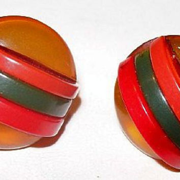 Art Deco Bakelite Earrings Banded Striped Red Green Butterscotch Color Screw Backs 1 in Vintage
