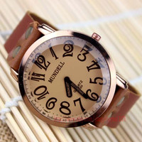 "Men big dial watches digital watches, the only not ""second hand"" of the watch Brown leather bracelet watch"