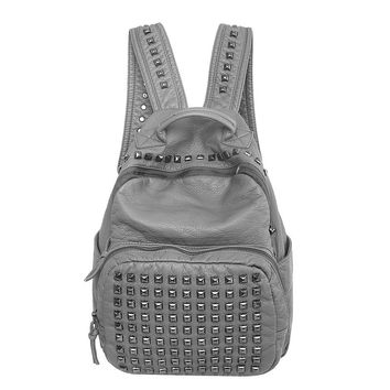 Back To School Stylish Casual Rivet Rinsed Denim Leather Soft Bags Backpack [6582876231]