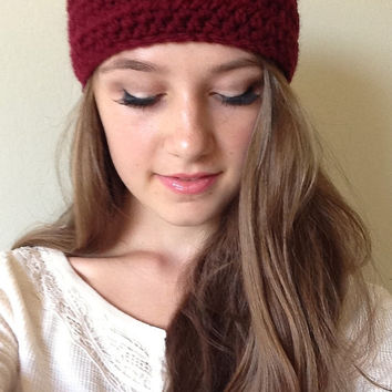 Perfect Fall/Winter Headband, Crocheted Earwarmer, Soft and Cozy, Color Maroon