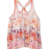 Sheer Hibiscus Stripe Looped Racerback Tank