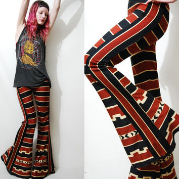 STRIPED Flares BELLS Aztec Tribal Bell Bottom Pants Leggings Bohemian Hippie Vintage Fabric Handmade ooak xxs xs