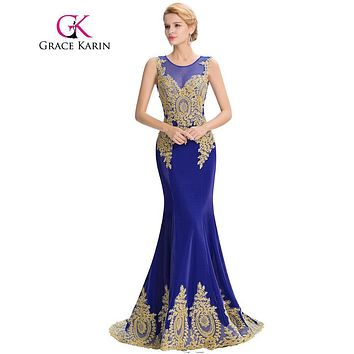 Grace Karin Long Prom Dresses 2016 Satin Black White Red Royal Blue Mermaid Prom Dress Elegant ballkleider Formal Dresses GK0026