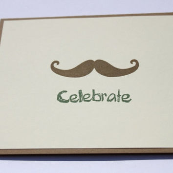 Mustache Birthday Card- Hand stamped