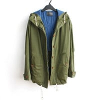 New Womens Army Green Military Parka Button Trench Hooded Coat Jacket S M L