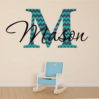Mason Initial And Name Personalized Custom Vinyl Wall Decal Sticker