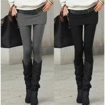 Hot Selling Grey Black False Two-piece Legging Pantskirt Women's Fashion Leggings With Mini Skirts Slim Fit
