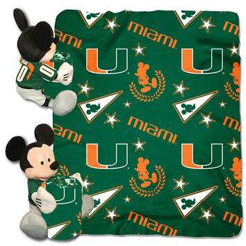 Miami Hurricanes NCAA Mickey Mouse with Throw Combo
