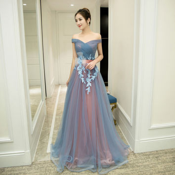 2 Styles Sleeveless Floor Length Prom Dress Lace Up Long Prom Dress Blue Strapless Evening Dress Appliques Prom Dresses FD29