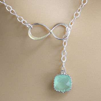 Sterling Silver Infinity Lariat Necklace, Infinity Pendant, Glass, Mint Necklace, Eternity Necklace, Best Friend, Double, Bridesmaid Gifts