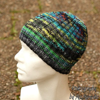 Multi color beanie hat - handknit from quality yarn in various colors, green, perfect gift for him or her
