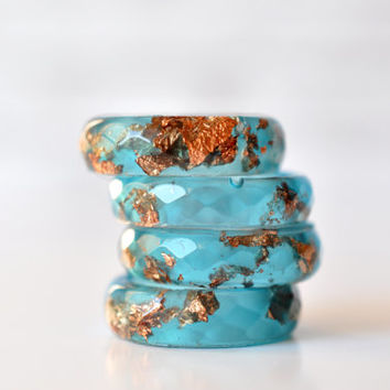 Blue Resin Ring With Copper Flakes - Thin Faceted Band Ring - Resin Stacking Ring - Minimal Resin Jewelry