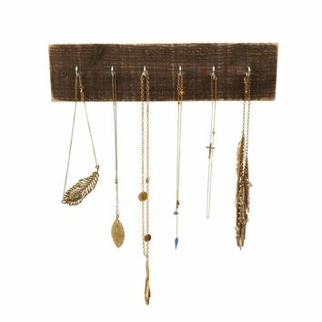 Reclaimed Wood Necklace Holder, Dark