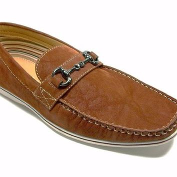 Mens Polar Fox Moccasin Slip On Suedette Loafers Shoes 30193 Brown-378