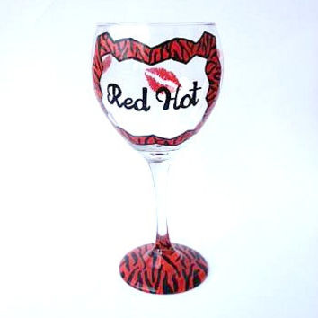 Red Hot Lips Zebra Hand painted Wine Glass