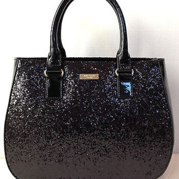 NWT Kate Spade New York black glitter Sylvie Belmont street bag purse wkru2262