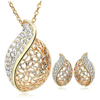 Teardrop Seashell Conch Shaped Gold Plated Necklace & Earring Jewelry Set