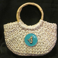 Coastal Home Decor & Gifts - Shop of the Sea — Turquoise Mermaid Medallion Straw Purse with Bamboo Handles