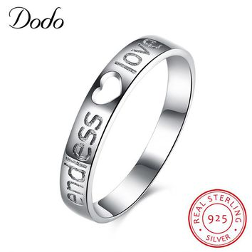 """DODO Classic Engagement Wedding Rings For Women Carve """"Endless Love"""" 925 Sterling Silver Hollow Heart Couple Rings SR84"""