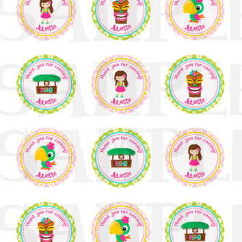 Luau Stickers, Cupcake Topper, Tags, Birthday Party sticker. Luau printable. 2 Inch Circles. Digital file
