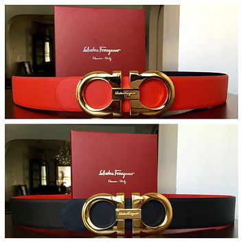 New Authentic Men's Red/black Reversible Ferragamo Belt 100cm Waist 34-36