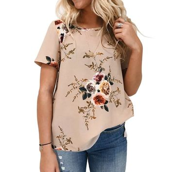 Floral Chiffon Short Sleeve Blouse For Women 2018 Summer Boho Top Femme Ladies Tunic Shirts Elegant Office Blouse Blusas Mujer