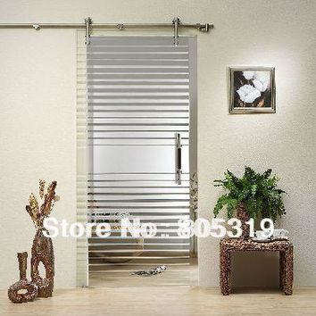 DIYHD 150CM-244CM Brushed Stainless Steel Glass Sliding Door Hardware Frameless Barn Glass Door Kit