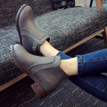 On Sale Hot Deal Winter Black Round-toe High Heel Dr. Martens England Style Shoes Thick Crust Boots [9138743303]
